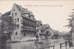NURNBERG , Germany , 00-10s ; Goldenes Haus und alte Hauser an der Pegnitz
