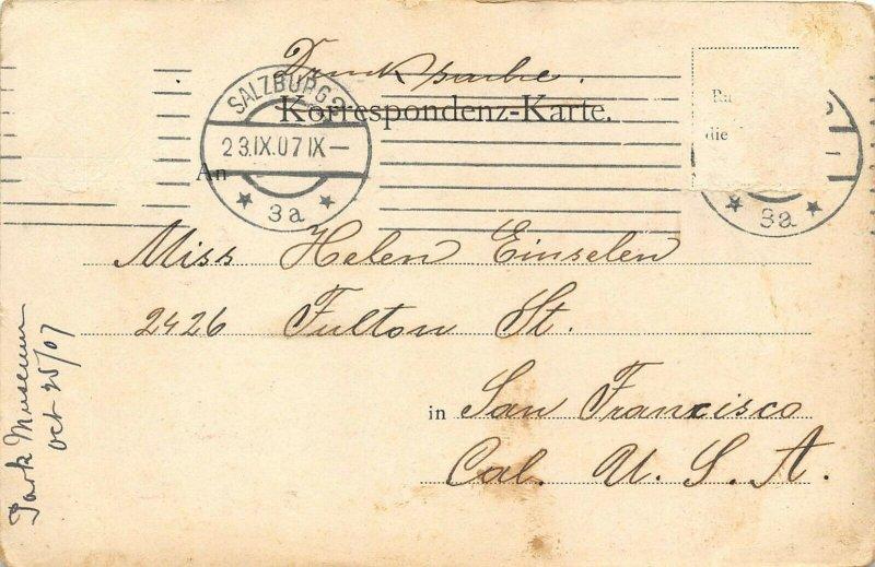 Salzburg Austria 1907 Postcard Peters Keller Restaurant Posted to USA