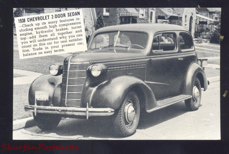 1938 CHEVROLET 2 DOOR SEDAN SUMNER IOWA CAR DEALER ADVERTISING POSTCARD CARS