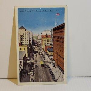 Vintage Postcard Seventeenth Street Denver Colorado old car automobile streetcar