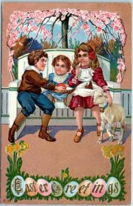 Vintage EASTER Holiday Embossed Postcard Children / Lamb / Colored Eggs 1912