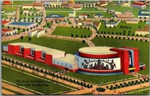 1939 NEW YORK WORLD'S FAIR Linen Postcard Food Exhibitors Building Air View