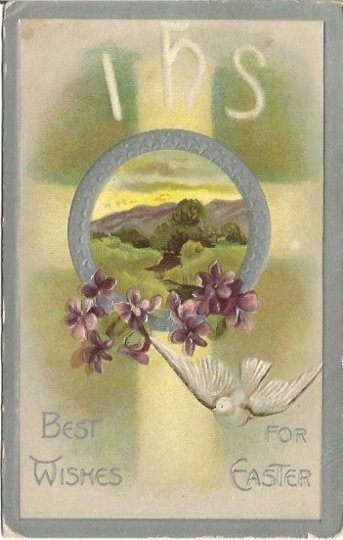 White Dove with Purple Violets Christian Cross and Scenic Meadow IHS