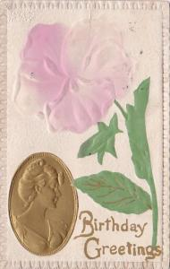 BIrthday Greetings Beautiful Lady In Broche With Pink Rose 1916