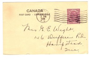 Postal Stationery Postcard Canada, George VI Used 1948, Letter from Camp