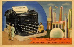 NY - 1939 New York World's Fair. Giant Underwood Master Typewriter