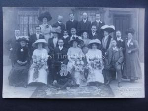 Group Wedding Portrait BRIDE & GROOM c1906 RP Postcard Royal Studio COLCHESTER