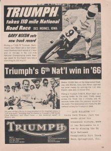 Triumph T100/R Motorcycle 1966 Print Ad, Gary Nixon Win in '66