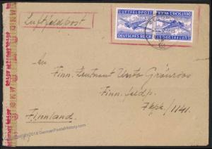 3rd Reich Germany FRONT-FRONT Finnish Volunteer Luftfeldpost LuPo Cover 17018