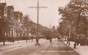 Bicycle Tram at Beverley Road Hull Antique 1915 WW1 Real Photo Postcard