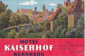 GERMANY NUERNBERG HOTEL KAISERHOF VINTAGE LUGGAGE LABEL