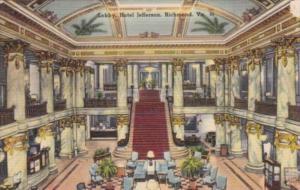 Virginia Richmond Hotel Jefferson The Lobby 1952