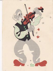 Quebec Art postcard by SIM , Le Violonneux , 30-50s