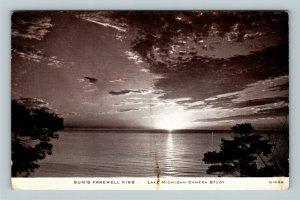 Lake Michigan IL, Sun's Farewell Kiss, Camera Study, Chrome Illinois Postcard