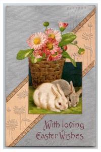 21568    EASTER    Rabbits, basket of flowers