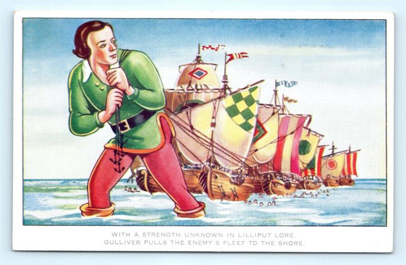 Postcard Gulliver's Travels Scene From 1939 Paramount Film Pulling Ships K08