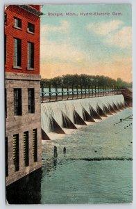 Sturgis Michigan~Hydro Electric Dam~Close Up Power House Building~c1912 Postcard