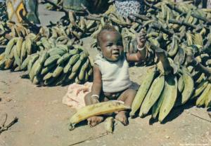AFRICA, PU-1961; Greetings from Tropical Africa, Baby sitting with bananas