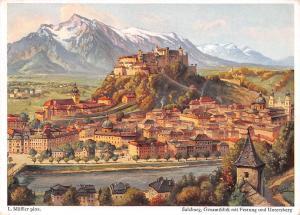 Salzburg Gesamtblick mit Festung und Untersberg L. Moessler Pinx