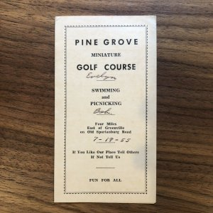 PINE GROVE - Miniature Golf Course  - 1955 - Brochure - Score Card - Vintage