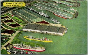Mobile, Ala. Postcard Aerial View ALABAMA STATE DOCKS Steamers Kropp Linen