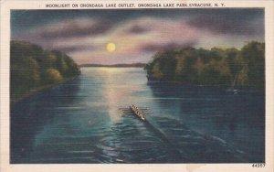 Moonlight On onondaga Lake Outlet Onondaga Lake Park Syracuse New York 1951