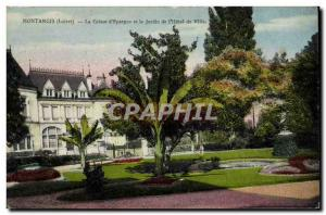 Old Postcard Montargis Bank Caisse d & # 39Epargne and the garden of the city...