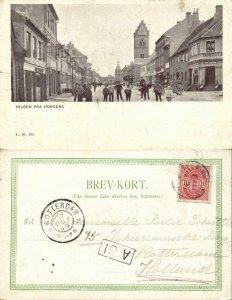 denmark, HORSENS, Street Scene with People (1899) Postcard