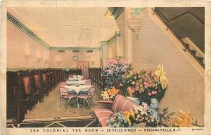 Niagara Falls New York~Colonial Tea Room Interior~Booths~Pink Chairs~1936 Linen
