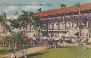 Florida Miami Hialeah Park Entrance To The Grand Stand Curteich