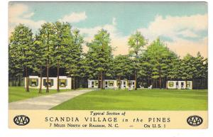 Scandia Village in the Pines Motel Raleigh NC US Route 1  Vintage AAA Postcard