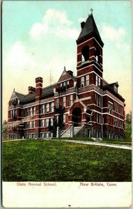 1906 New Britain, Connecticut Postcard State Normal School Main Building View