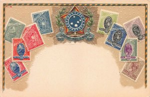 Brazil Stamps on Early Embossed Postcard, Unused, Published by Ottmar Zieher