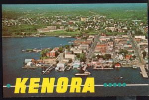 Ontario Aerial View KENORA on Hwy 17 pulp and paper mill town 1950s-1970s