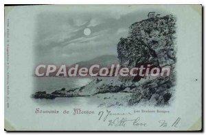 Old Postcard Souvenir De Menton Red Rocks
