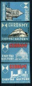 500470 POLAND Cultural places ADVERTISING Vintage match labels