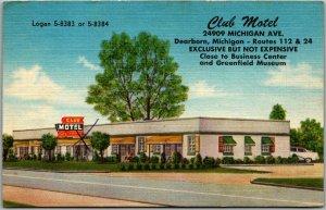 Dearborn, Michigan Postcard CLUB MOTEL Route 112 Roadside Linen - Dated 1957