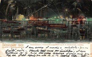 Dusseldorf 1902 Illumination u. Feuerwerk Fireworks Boats Panorama Postcard