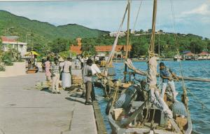 ST. THOMAS, U. S. Virgin Islands, 40-60s; Native Sloop departing