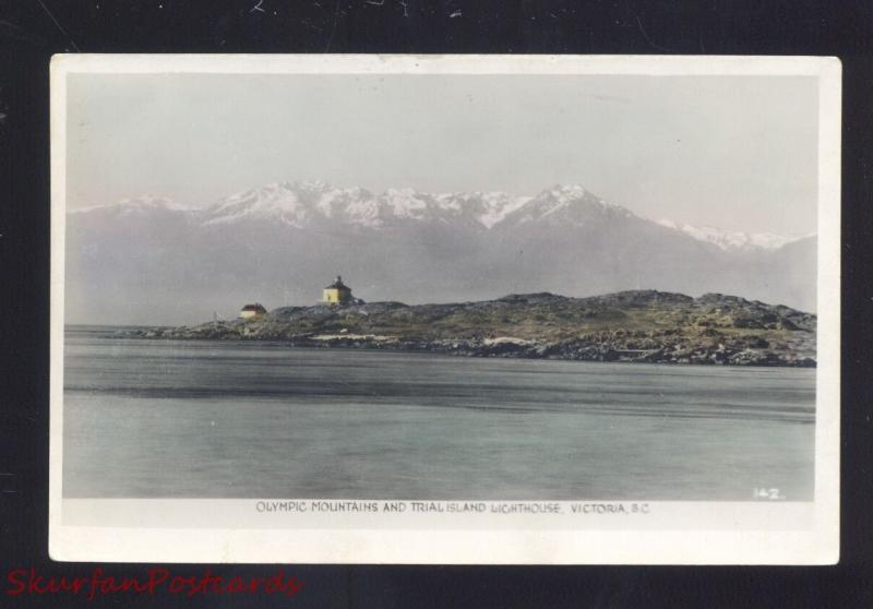 RPPC VICTORIA BRITISH COLUMBIA TRIAL ISLAND LIGHTHOUSE REAL PHOTO POSTCARD