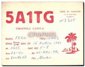 Postcard Old Telegraphie 5A1TG Tripoli Libya Joe D Gagne