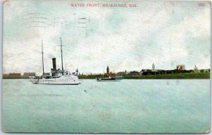 Milwaukee, Wisconsin Postcard WATER FRONT Sailing Ship - 1908 WI Cancel