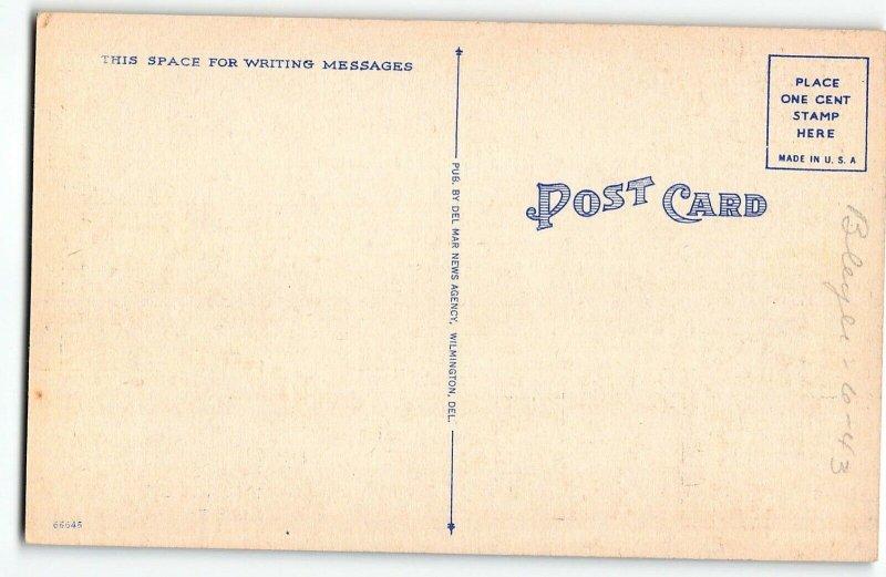 DOVER, DELAWARE Large Letter Linen Postcard, c1940 - Post Office, Car downtown