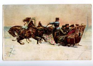 152249 RUSSIA Troika HORSES Sled vintage Colorful PC