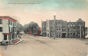 Merrimac MA Main street Buildings Trolley Tracks Postcard