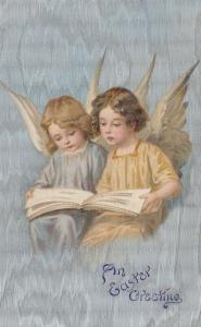 EASTER Greetings, 1901-07; Two little Angels reading