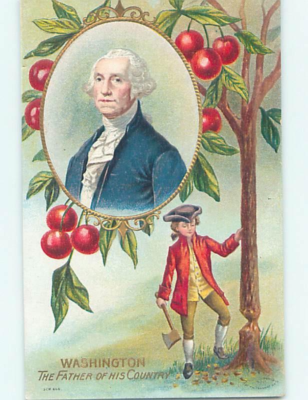 Pre-Linen patriotic GEORGE WASHINGTON CHOPPING DOWN CHERRY ...