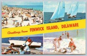 1980's GREETINGS FROM FENWICK ISLAND DELAWARE*SAILBOATS*BEACH*UNUSED POSTCARD