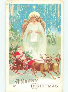 Pre-Linen Christmas ANGEL WATCHES OVER SANTA AND REINDEER AB5616