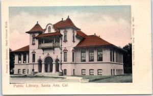 Santa Ana, California Postcard Public Library Street View HAND-COLORED c1900s